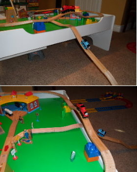 Snug Trac wooden train fasteners keep your wooden toy train track together without nails or glue.  You can still take the track apart to change layouts.